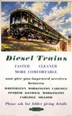 'Diesel Trains' BR (LMR) poster  c 1950s.
