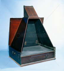 Folding wooden camera obscura  early 19th century.