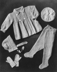 A selection of knitwear for a small child  1940s.