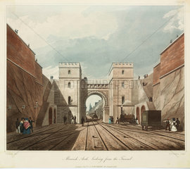 'Moorish Arch  looking from the Tunnel'  Liverpool & Manchester Railway  1831.