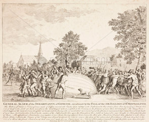 The destruction of Charles and Robert's balloon  27 August 1783.
