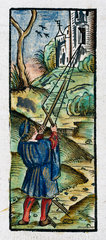 A man using a cross-staff to measure angles  1535.