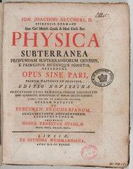 Title page to 'Physica Subterranea'  1738.