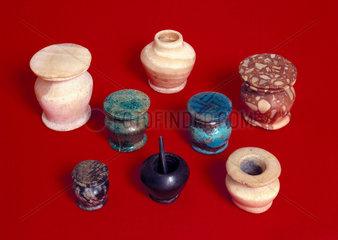 Ancient Egyptian kohl pots  1800-200 BC.
