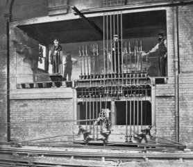 Signal box at Victoria  late 19th century.