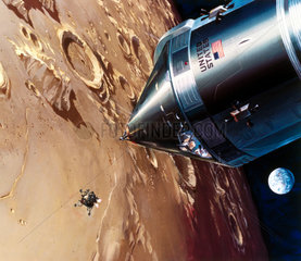 Drawing of Lunar Module descent  1969.