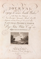 Title page to 'Journal of a voyage to New South Wales'  1789.