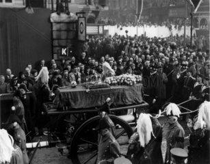 King George V's coffin  Paddington Station  London  28 January 1936.