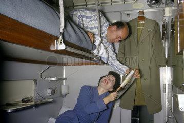 Husband and wife in sleeper carriage  1962.