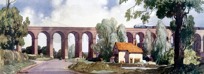 Colne Valley Viaduct at Chappel  Essex  1948-1965.