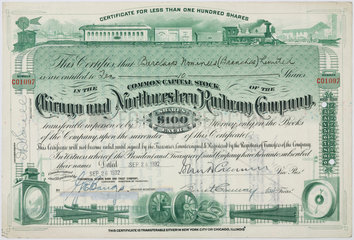 Share certificate for the Chicago and Northwestern Railway Co  1929.