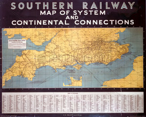 'Map of System and Continental Connections'  SR poster  1935.