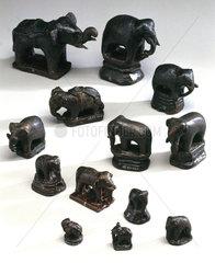 Thirteen small bronze Elephant weights  17th-18th century.