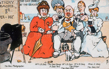 'The Dam Family at the Seaside'  postcard  c 1919.