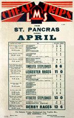 'Cheap Trips'  LMS poster  1934.