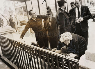 Alfred Pilgrim being given the kiss of life after acquittal  16 April 1964.