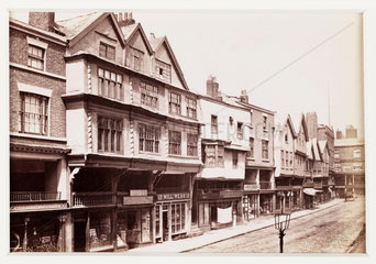 'Chester  Old Houses in Bridge Street'  c 1880.