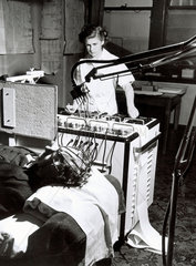 Monitoring on a brainwave machine  24 April 1950.