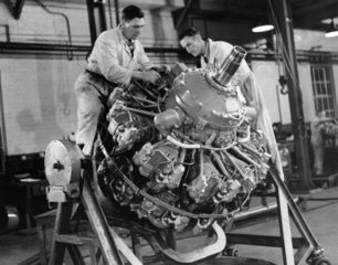 Repairing an aircraft engine  Wales  1954.