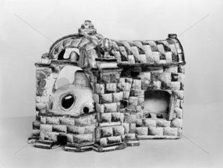 Glazed china model of a glass furnace  1750-1800.