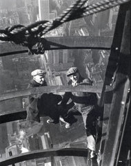 Two builders during the construction of the Empire State Building  c 1933.