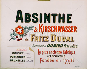 Advertisement for Fritz Duval absinthe  c 1900.