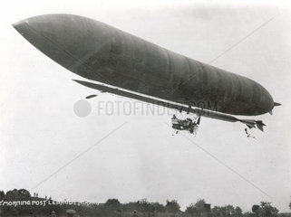'Morning Star' 'Lebaudy' airship in flight  early 20th century.