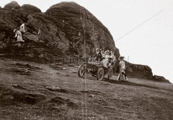 The first 10 hp Rolls-Royce motor car parked beside Hay Tor  Devon  1904.