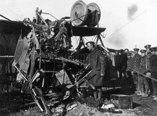 Damage to a German Gotha aeroplane which la