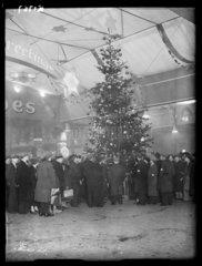 Christmas decorations at Paddington Station  London  1934.
