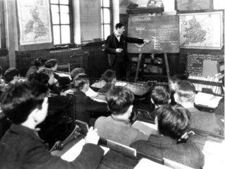 Classroom scene at a secondary school  28 October 1937.