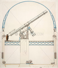 Equatorially mounted refracting telescope with dome  1914.
