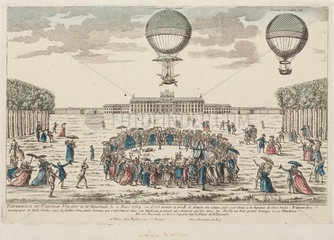 Blanchard's first ascent in a balloon  2 March 1784.