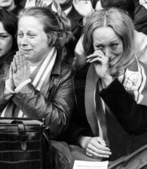 Liverpool fans weep as manager Bill Shankly leaves  26 August 1974.
