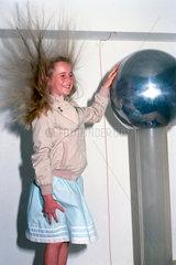 Girl with Van der Graaff generator  1998.