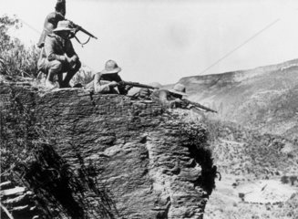 Italian snipers in position for advance on Makale  10 November 1935.