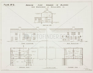 'Design for Houses in Blocks for Workmen & Colliers'  19th century.