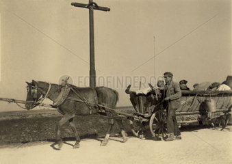 Russian refugees on a cart  Second World War  1940s.