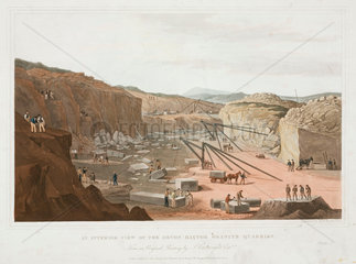 'An Interior View of the Haytor Granite Quarries'  Devon  1825.