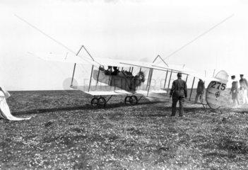 Henri Farman F40 biplane preparing for take