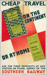 Cheap Travel on the Continent or at Home'  SR poster  1938.