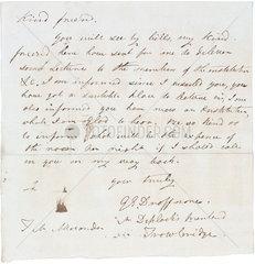 Letter concerning arrangements for public lectures  c 1850s.