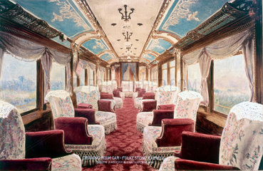 Interior of a drawing room car  early 19th century.