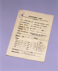 Limb unit appointment card for Queen Mary's Hospital  Roehampton  1917.