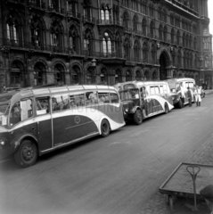 Tourist buses outside St Pancras Station  London  1950.