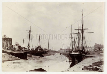 Boats at low tide  c 1890.