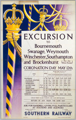 'Excursion to Bournemouth  Swanage  Weymouth...'  SR poster  1937.