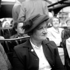 Female passenger on a coach touring the sights of London  1950.