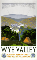 'Wye Valley'  GWR/LMS poster  1938.