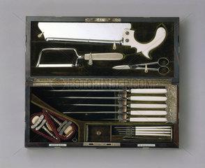 Steel and ivory amputation set  1866-1871.